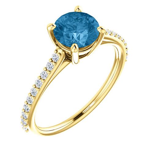 14kt Yellow Gold 1.3 ct Round Swiss Blue Topaz and 1/5 ct Diamond Ring
