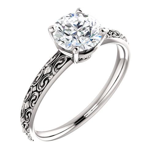 14kt White Gold Vintage-Style 1 ct Forever One Moissanite Ring