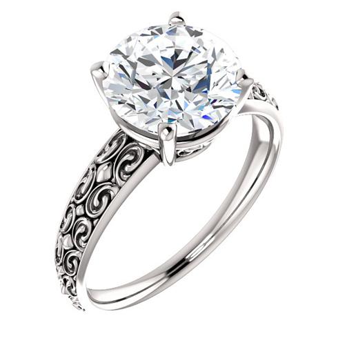 14kt White Gold Vintage-Style 3 ct Forever One Moissanite Ring