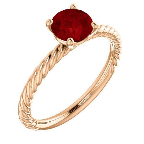 14kt Rose Gold 1.2 ct Chatham Created Ruby Rope Ring