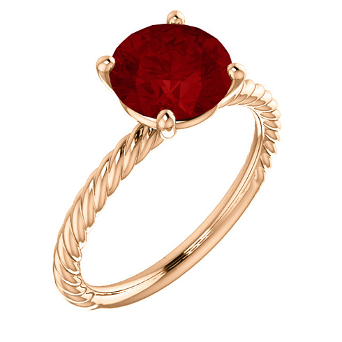 14kt Rose Gold 2 3/4 ct Chatham Created Ruby Rope Ring