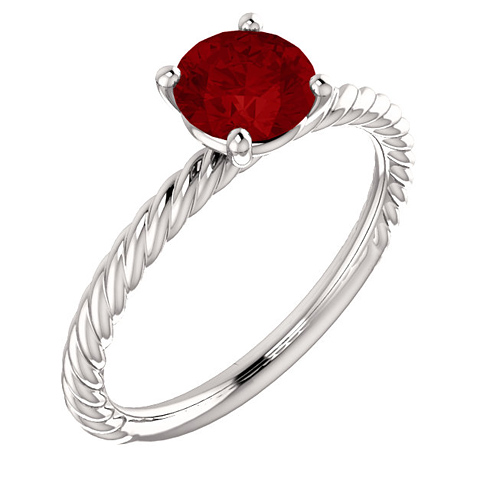 14kt White Gold 1.2 ct Chatham Created Ruby Rope Ring