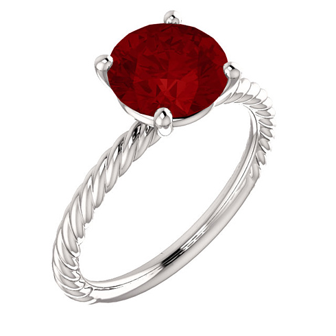 14kt White Gold 2 3/4 ct Chatham Created Ruby Rope Ring