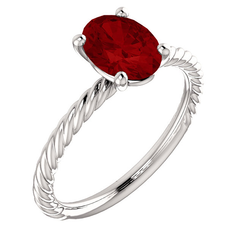 14kt White Gold 1 3/4 ct Oval Chatham Created Ruby Rope Ring