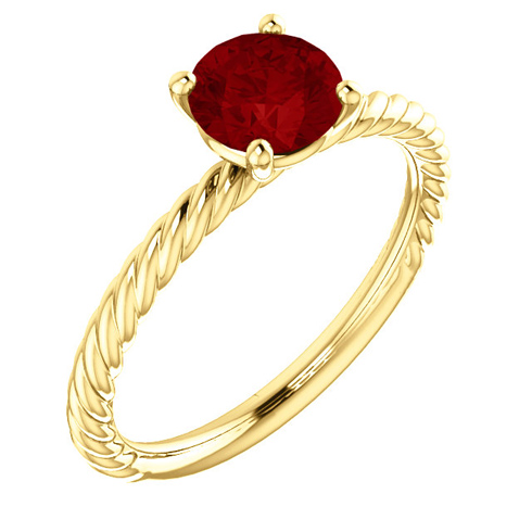 14kt Yellow Gold 1.2 ct Chatham Created Ruby Rope Ring