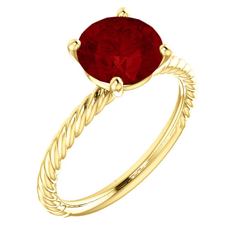 14kt Yellow Gold 2 3/4 ct Chatham Created Ruby Rope Ring