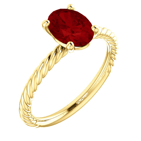 14kt Yellow Gold 1 3/4 ct Oval Chatham Created Ruby Rope Ring