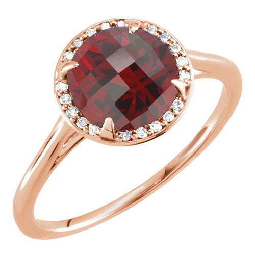14kt Rose Gold 2.35 ct Garnet Halo Style Ring with Diamonds