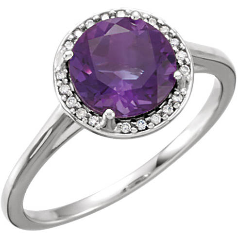14kt White Gold 1.75 ct Amethyst Halo Style Ring with Diamonds