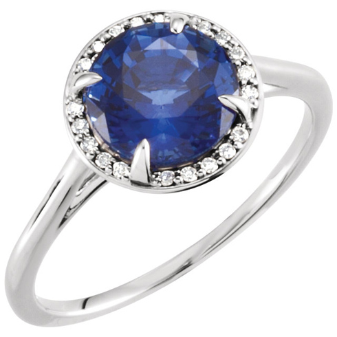 14kt White Gold 2.75 ct Chatham Created Blue Sapphire Halo Style Ring with Diamonds