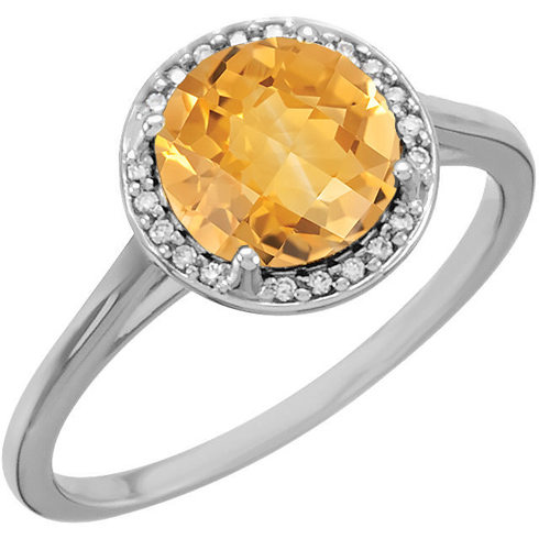 14kt White Gold 1.75 ct Citrine Halo Style Ring with Diamonds