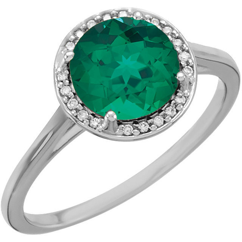 14kt White Gold 1.75 ct Chatham Created Emerald Halo Style Ring with Diamonds