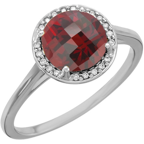 14kt White Gold 2.35 ct Garnet Halo Style Ring with Diamonds