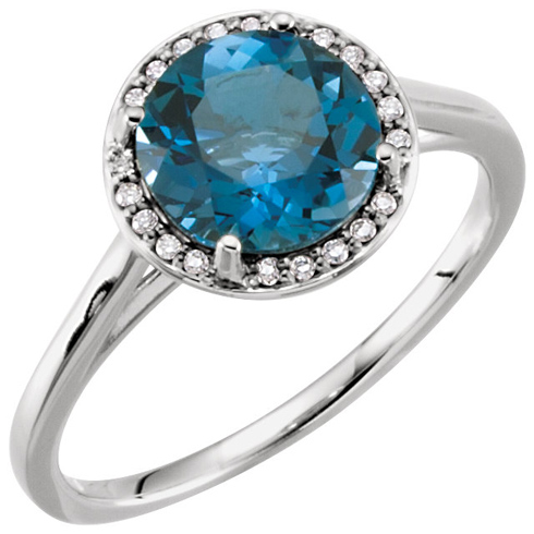 14kt White Gold 2.4 ct London Blue Topaz Halo Style Ring with Diamonds