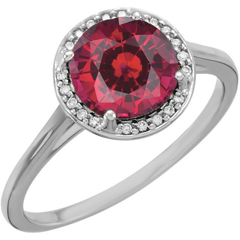 14kt White Gold 2.75 ct Chatham Created Ruby Halo Style Ring with Diamonds