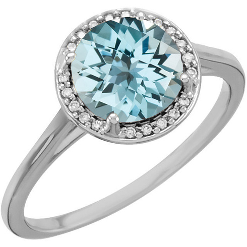 14kt White Gold 2.4 ct Sky Blue Topaz Halo Style Ring with Diamonds