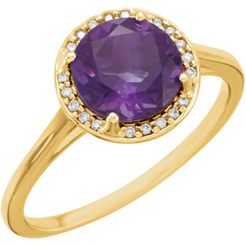 14kt Yellow Gold 1.75 ct Amethyst Halo Style Ring with Diamonds