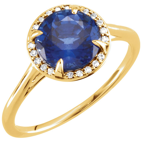 14kt Yellow Gold 2.75 ct Chatham Created Blue Sapphire Halo Style Ring with Diamonds