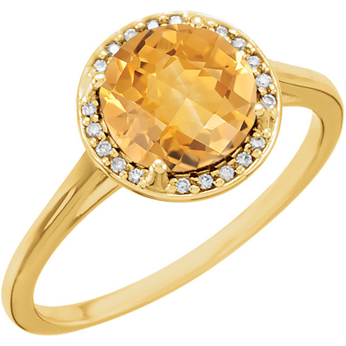 14kt Yellow Gold 1.75 ct Citrine Halo Style Ring with Diamonds