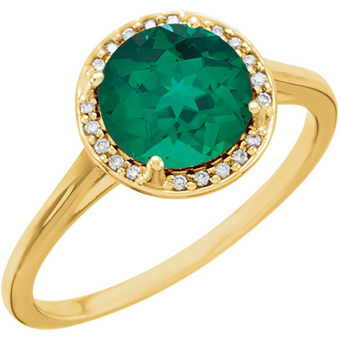 14k Yellow Gold 1.75ct Chatham Created Emerald Halo Ring with Diamonds