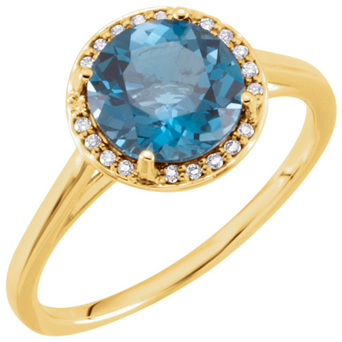 14k Yellow Gold 2.4 ct London Blue Topaz Halo Style Ring with Diamonds