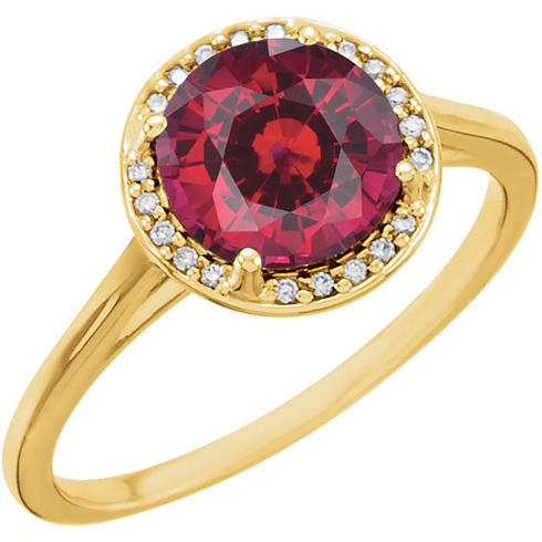 14kt Yellow Gold 2.75 ct Chatham Created Ruby Halo Style Ring with Diamonds