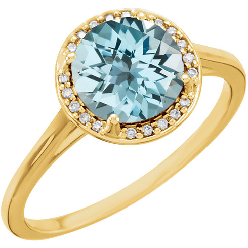 14kt Yellow Gold 2.4 ct Sky Blue Topaz Halo Style Ring with Diamonds