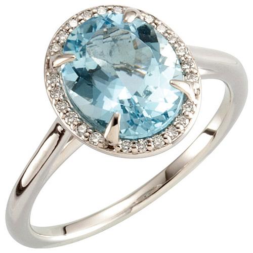 14kt White Gold 2 1/2 ct Oval Aquamarine Halo Ring with Diamonds