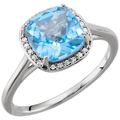 14k White Gold 2.8ct Antique Square Swiss Blue Topaz Diamond Ring