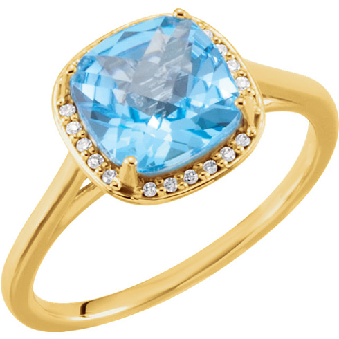 14kt Yellow Gold 2.8 ct Antique Square Swiss Blue Topaz Ring with Diamonds
