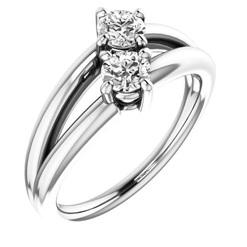 14kt White Gold 1/2 ct Two-Stone Diamond Split Ring