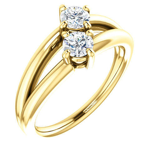 14kt Yellow Gold 1/2 ct Two-Stone Diamond Split Ring