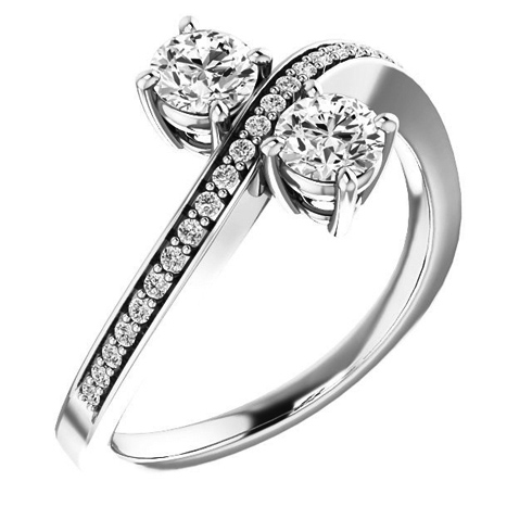 14kt White Gold .62 ct Two-Stone Diamond Bypass Ring