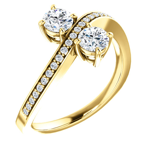 14kt Yellow Gold .62 ct Two-Stone Diamond Bypass Ring