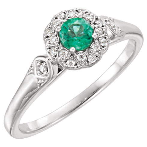 14kt White Gold 1/4 ct Emerald & 1/10 ct tw Diamond Fancy Halo Ring