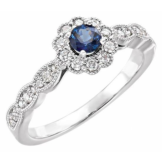14kt White Gold 3/10 ct Blue Sapphire & Diamond Fancy Halo Ring