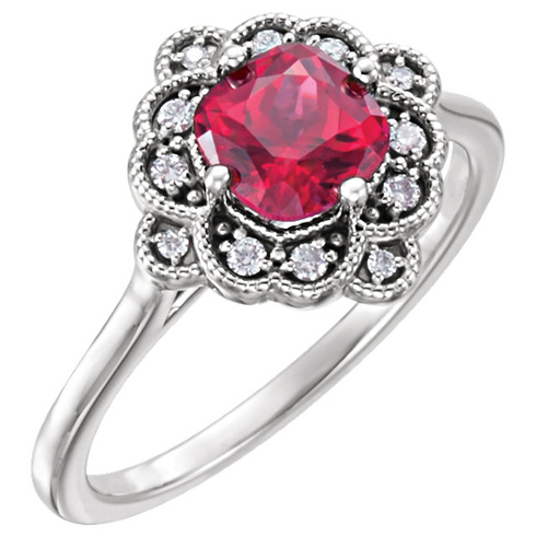 14kt White Gold 1.3 ct Created Ruby Floral Halo Ring & Diamonds