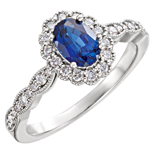 14kt White Gold 1.3 ct Chatham Created Sapphire Antique Style Halo Ring with 3/8 ct Diamonds