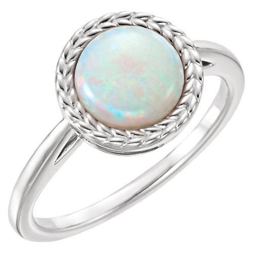 14kt White Gold 1 ct Round Opal Leaf Design Ring