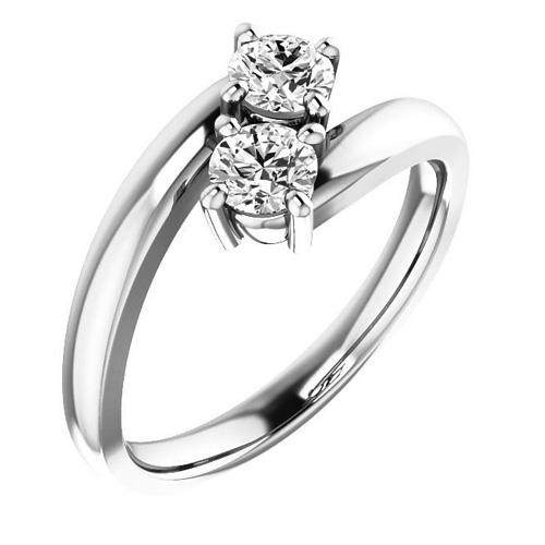 14kt White Gold 1/2 ct Two-Stone Diamond Ring