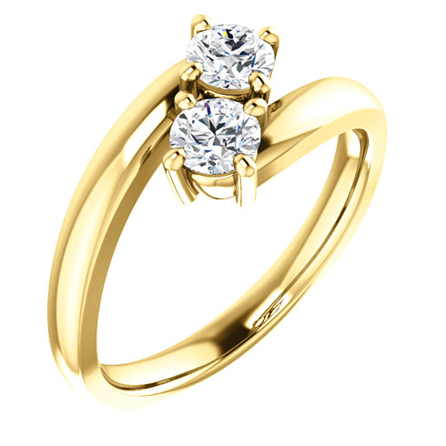 14kt Yellow Gold 1/2 ct Two-Stone Diamond Ring