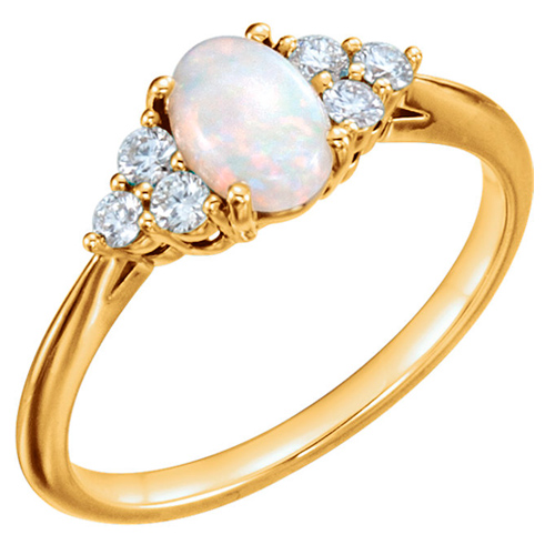 14k Yellow Gold Oval Australian Opal Ring with Diamond Accents