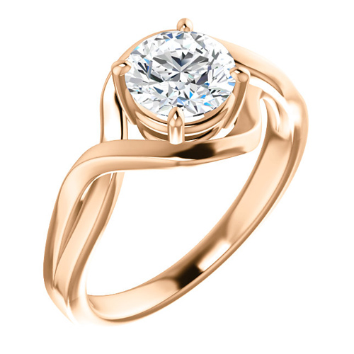 14kt White Gold 1 ct Forever One Moissanite Infinity Style Ring