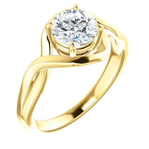 14kt Yellow Gold 1 ct Forever One Moissanite Infinity Style Ring