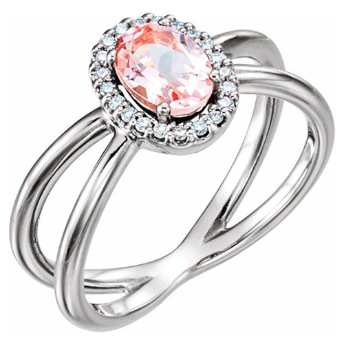 14k White Gold 3/4 ct Oval Morganite Ring with Diamonds Crossed Shank