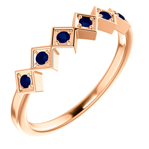 14kt Rose Gold .18 ct tw Sapphire Squares Stackable Ring