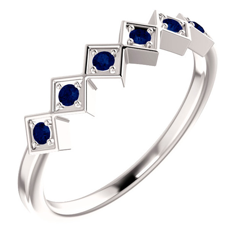 14kt White Gold .18 ct tw Sapphire Squares Stackable Ring