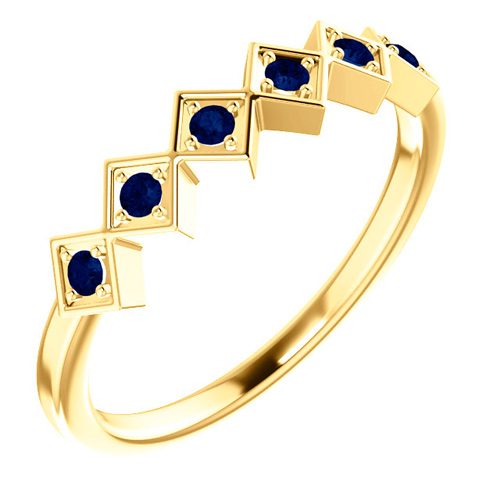 14kt Yellow Gold .18 ct tw Sapphire Squares Stackable Ring