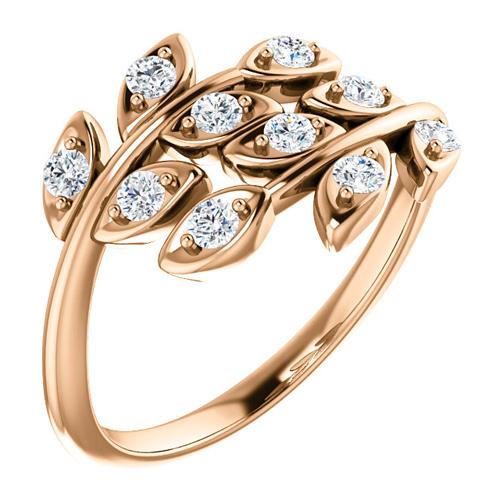 14kt Rose Gold .30 ct tw Diamond Leaf Ring