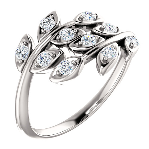 14kt White Gold .30 ct tw Diamond Leaf Ring